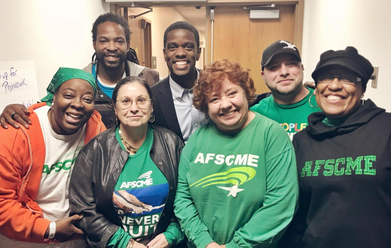 AFSCME members campaigned hard for Saint Paul's new mayor, Melvin Carter (back row, second from left).