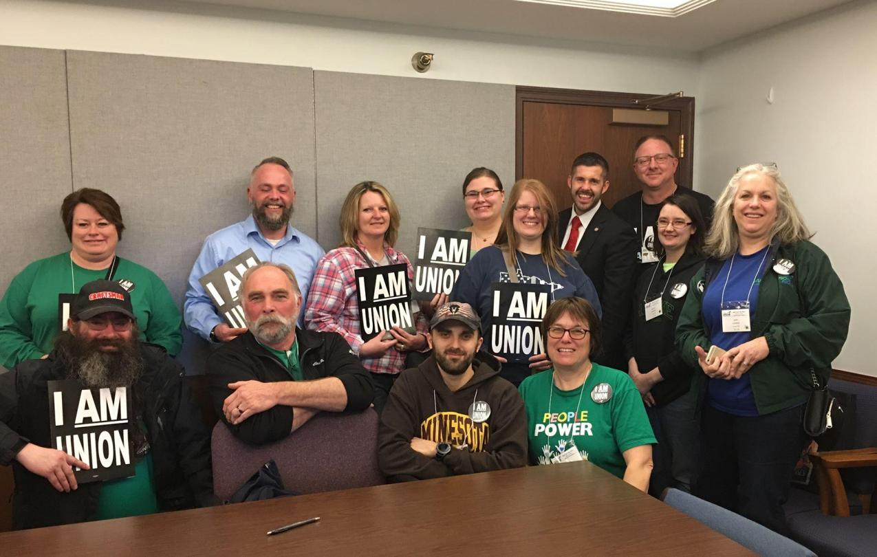 AFSCME members meet with Rep. Dan Wolgamott during Day on the Hill 2019
