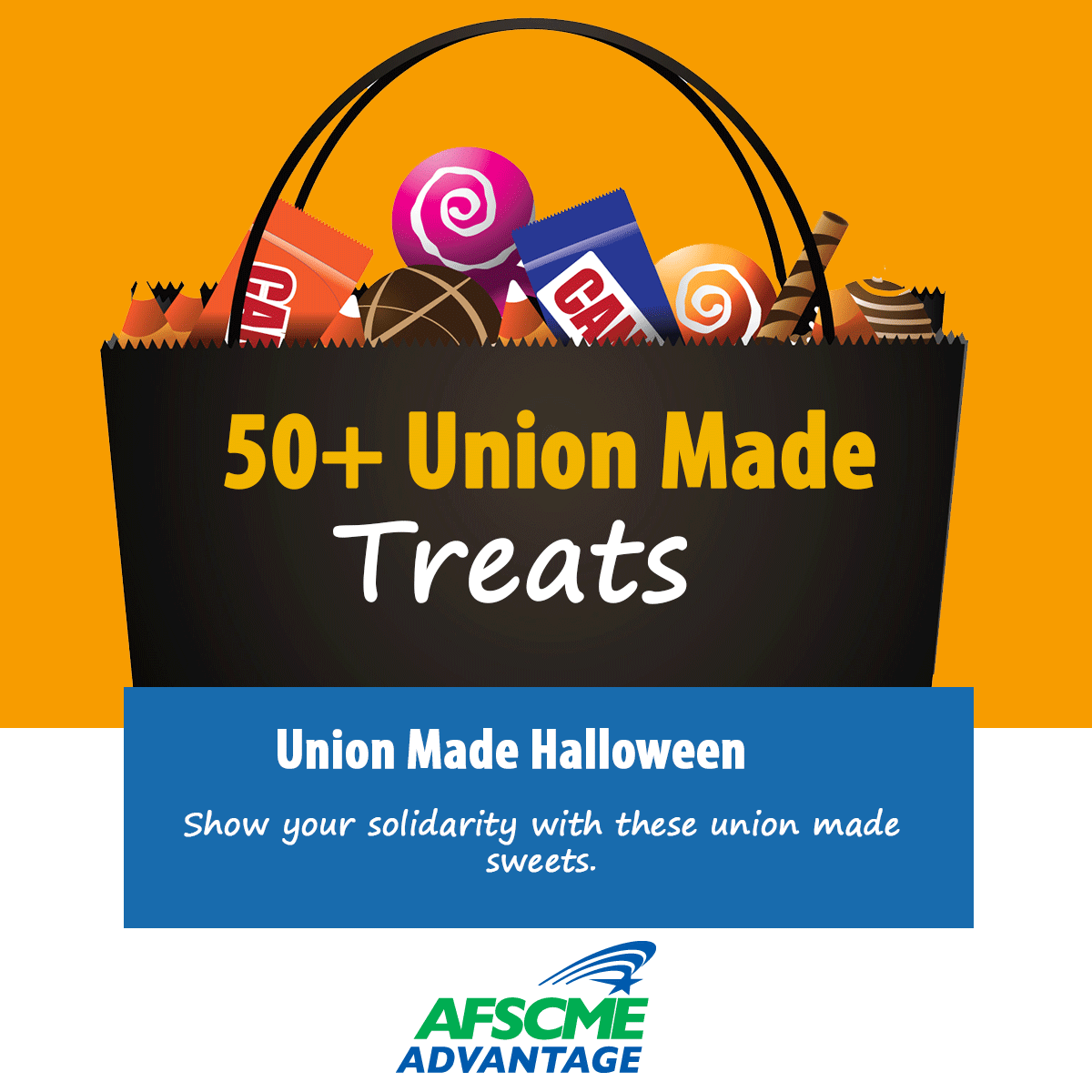Union-made halloween candy in a bag